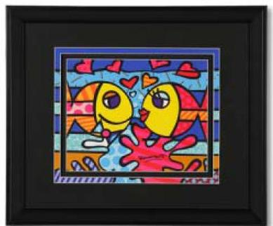 Fish Love Framed Print by Britto