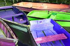 Colored Boats at Rest