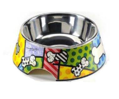 Dog Dish with Bones by Romero Britto
