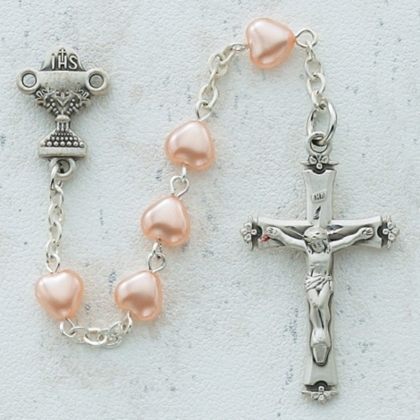 6mm Pink Pearl Heart Communion Rosary SORRY SOLD OUT