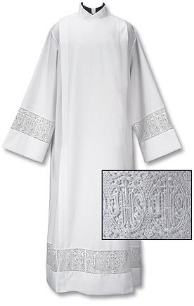 "Front Wrap Alb w/ Lace ++++++++++++++++++ ""Latin Cross and IHS"" ++++++++++++++++++ 100% Polyester +++++++++++++++++ $115 ++++++++++++++++++ Item# TS595"