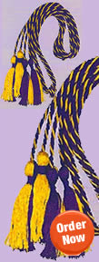 Royal Blue and Gold Honor Cords Woven Intertwined