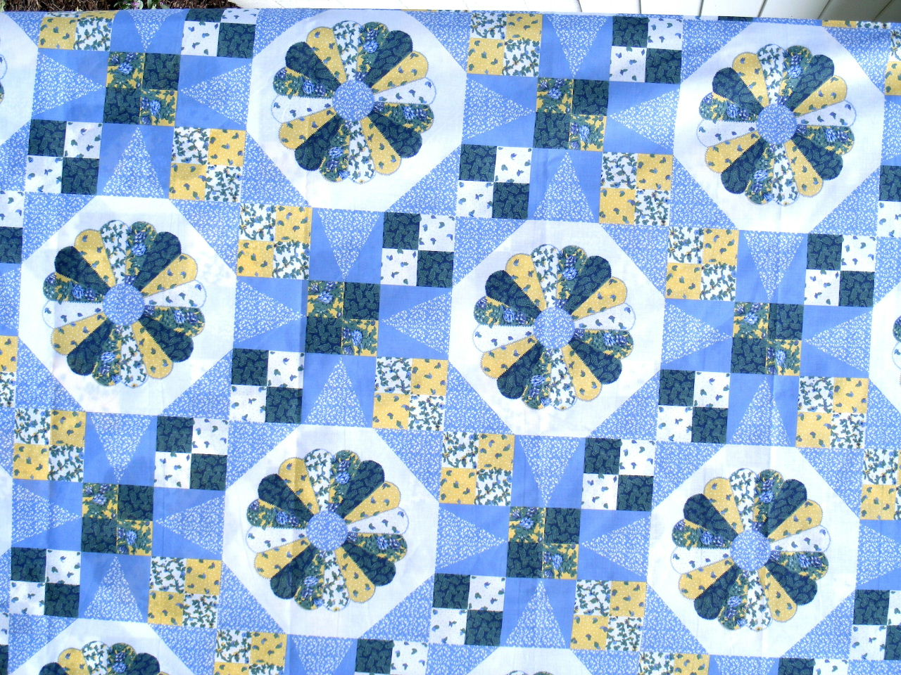 Dresden patch blue cheater quilt fabric 3 yards 90wide