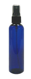 Cobalt Blue Plastic PET Bottle with Black Spray Atomizer Top