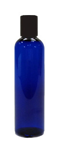 Cobalt Blue Plastic PET Bottle with Black Disc Cap