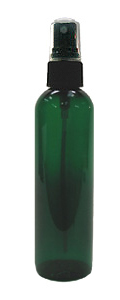 Green Plastic PET Bottle with Black Spray Atomizer Top