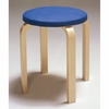 Artek Alvar Aalto  - Four Legged Stool E60 - Birch Legs with Upholstered Seat