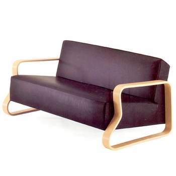 Artek Alvar Aalto  - Sofa 544 - Black Leather Upholstery - Click to enlarge