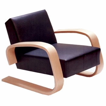 Artek Alvar Aalto - Natural Birch Lounge Chair 400 - Black Leather - Click to enlarge