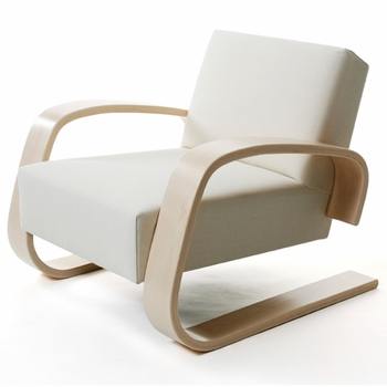 Artek Alvar Aalto - Natural Birch Lounge Chair 400 - Upholstered - Click to enlarge