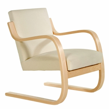 Artek Alvar Aalto - Natural Birch Armchair 402 - Upholstered  - Click to enlarge
