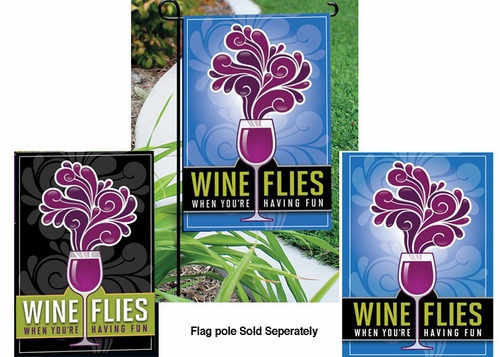 Wine Flies Garden Flag