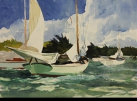 RENESON: SAILBOATS AT ANCHOR