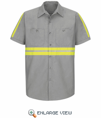 SP24EG Short Sleeve Enhanced Visibility Industrial Grey Work Shirt