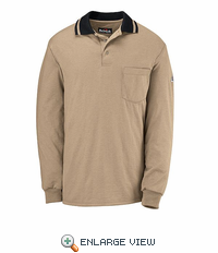 SNK2KN NOMEX® IIIA Khaki w/Navy Trim Long Sleeve Polo Knit Shirt-Discontinued