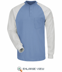 SEL4BG EXCEL FR® Blue/Grey Long Sleeve Color-Block Tagless Henley Shirt