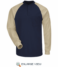 SEL4NK EXCEL FR® Long Sleeve Navy/Khaki Color-Block Tagless Henley Shirt