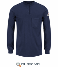 SEL3NV EXCEL- FR™ Women's Navy Long Sleeve Henley Shirt