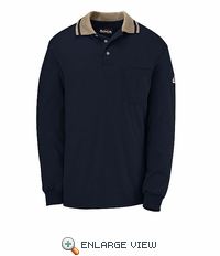 SNK2NK NOMEX® IIIA Navy w/Khaki Trim Long Sleeve Polo Knit Shirt-Discontinued
