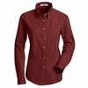 1T11BU Women's Burgundy Long Sleeve Meridian Preformance Twill Shirt
