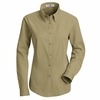 1T11KH Women's Khaki Long Sleeve Meridian Preformance Twill Shirt
