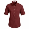 1T21BU Women's Burgundy Short Sleeve Meridian Preformance Twill Shirt