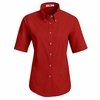 1T21RD Women's Red Short Sleeve Meridian Preformance Twill Shirt