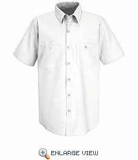 SS24WH White Performance Polyester Industrial Work Shirt - Discontinued