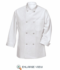 0403WH White Eight Pearl Button Chef Coat