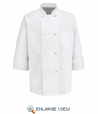 0411WH White Eight Knot Button Chef Coat