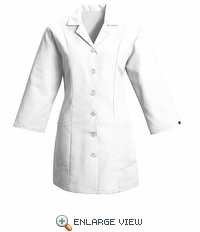 TP11WH Women's White Fitted 3/4 Sleeve Smock
