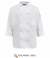 0423WH White Spun Poly Ten Pearl Button White Chef Coat