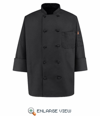 0427BK Black Knot Button Spun Polly Chef Coat