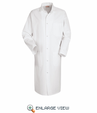 4016WH White Outside Pockets Gripper Front Butcher Coat