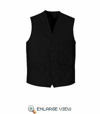 1360BK Black V-Neck Button Front Vest