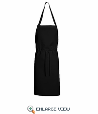 1430BK Black Standard Bib Apron Without Pockets