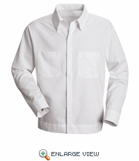 SP35WH White Shirt Jacket, Button Front Long Sleeve