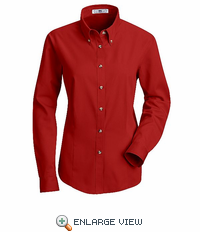1T11RD Women's Red Long Sleeve Meridian Preformance Twill Shirt