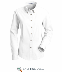 1T11WH Women's White Long Sleeve Meridian Preformance Twill Shirt