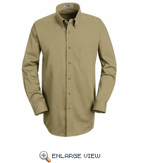 1T12KH Khaki Long Sleeve Meridian Preformance Twill Shirt