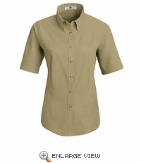 1T21KH Women's Khaki Short Sleeve Meridian Preformance Twill Shirt
