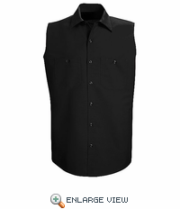 SP02BK Men's Black Sleeveless Workshirt - Discontinued