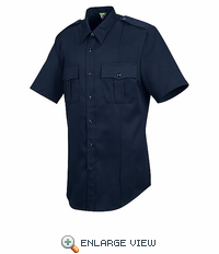 HS1208 Men's New Dimension® Stretch Poplin Dark Navy Short Sleeve Shirt