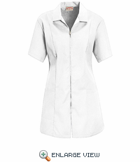 KP43WH Women's White Zip Front Smock