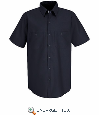 SS24NV Short Sleeve Navy Performance Polyster Industrial Work Shirt - Discontinued