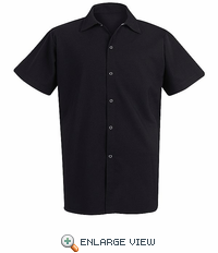 5035BK Black Spun Poly Short Sleeve Long Cook Shirt