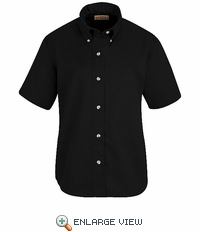 SP81BK Women's Black Short Sleeve Button Down Poplin Shirts
