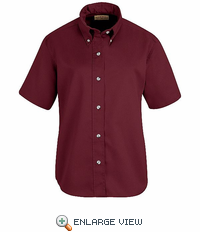 SP81BY Women's Burgundy Short Sleeve Button Down Poplin Shirts