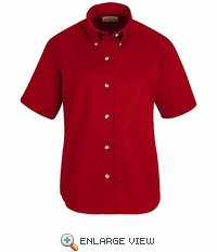 SP81RD Women's Red Short Sleeve Button Down Poplin Shirts