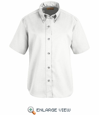 SP81WH Women's White Short Sleeve Button Down Poplin Shirts
